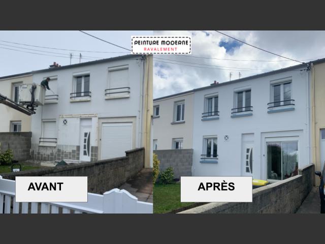 Peinture moderne ravalement facade maison brest