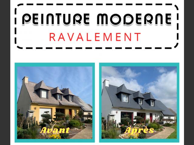 Peinture moderne -nettoyage toiture et ravalement maison plougonvelin